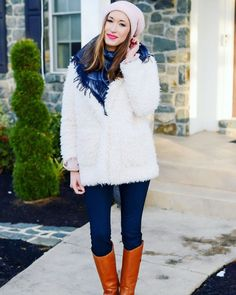 Clothing Items to Stock Up on This Moment  Fuzzy white coat, Gucci scarf, free people beanie, winter outfit