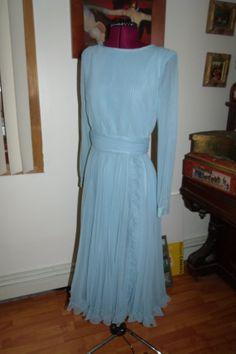 Miss Elliette Soft Blue Chiffon Pleated Ruffle Dress