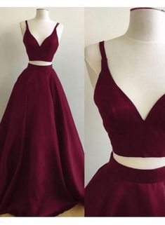 USD$129.00 - Straps Two-Piece Elegant A-line Sleeveless Burgundy Prom Dress - www.27dress.com