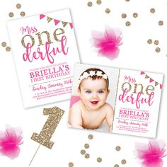 Miss Onederful Invitation, Miss Onederful Birthday Theme, 1st Birthday Invitations, First Birthday Invitation, Printable Birthday Invitation by LittleHamCollection on Etsy https://www.etsy.com/listing/469493260/miss-onederful-invitation-miss-onederful