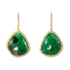 Yellow Gold Emeralds With Diamond Pave