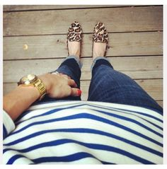 leopard loafers & stripes - we love mixing prints.