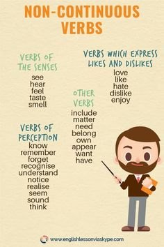 between Present Simple and Present Continuous Non Continuous verbs in Present Continuous.Non Continuous verbs in Present Continuous. Easy English Grammar, Teaching English Grammar, English Verbs, English Language Learners, Spanish Language Learning, Education English, English Vocabulary, Teaching Spanish, Bilingual Education