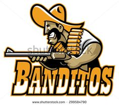 mexican mascot aiming shotgun