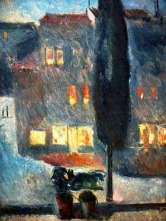Edvard Munch - Cypress in Moonlight, 1892.