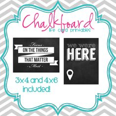 Chalkboard Project Life Card Freebie | [ One Velvet Morning ]