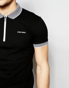 Image 3 of Antony Morato Zip Neck Polo Shirt with Stripe Collar
