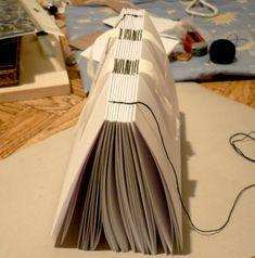 Блокноты ручной работы: Книжный переплет на лентах
