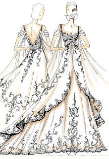 BOCETOS DE MODA : Bocetos de vestidos de novia                                                                                                                                                     Más