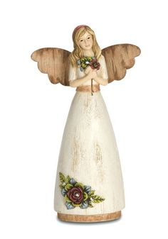 Pavilion Gift Company Simple Spirits 41013 Angel Figurine Holding Flowers, 6-Inch, Daughter Pavilion Gift Company