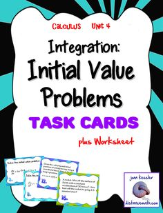 This activity is designed for Calculus 1 or AP Calculus. Initial Value problems are usually included in the beginning of Unit 4, Integration, right after Antiderivatives, None of these problems use substitution to integrate . Included: *Task Cards: There are 16 cards. # 1- 10 are traditional initial value problems, Given a 1st, 2nd, or third derivative with initial conditions, students are to find the function. The rest are word problems.