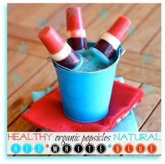 Healthy Red, White, and Blue Popsicles - Simple, Organic, Fresh - Perfect for Fourth or July