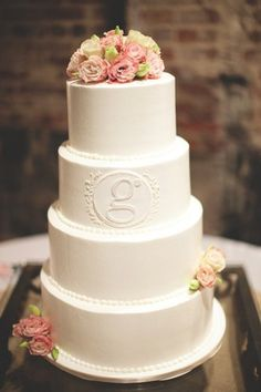 """Rustic Wedding Cakes.  So simple and love """"g"""" for GILBERT,"""