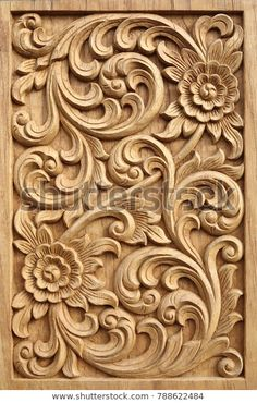 Find Pattern Flower Carved On Wood Background stock images in HD and millions of other royalty-free stock photos, illustrations and vectors in the Shutterstock collection. Thousands of new, high-quality pictures added every day. Wood Carving Designs, Wood Carving Patterns, Wood Carving Art, Wooden Door Design, Main Door Design, Wooden Doors, Best Wood For Carving, Art Sculpture En Bois, Chip Carving