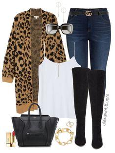 Plus Size Leopard Cardigan Outfit Ideas - Alexa Webb - Plus Size Leopard Cardigan Outfit Ideas – Plus Size Fall Outfits – Plus Size Fashion for Women - Outfits Plus Size, Plus Size Fall Outfit, Plus Size Fashion For Women, Plus Size Boots, Plus Size Winter Outfits, Leopard Cardigan Outfit, Cardigan Outfits, Leopard Sweater, Leopard Outfits