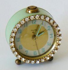 Vintage Jadeite Green Bradley Rhinestone Alarm Clock