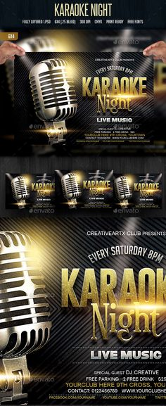 Karaoke Night U2014 Photoshop PSD #retro #poster U2022 Available Here → Https:/