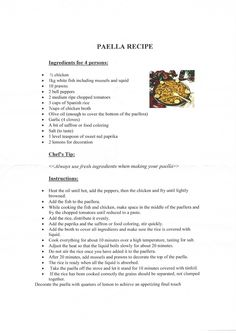 Paella recipe from Marriott Resort Andaluzia