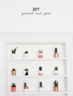 DIY Painted Cacti Pots. (via Bloglovin.com )