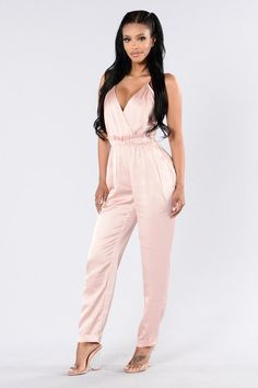 Available in Mauve and Olive Satin Jumpsuit Adjustable Spaghetti Straps Cinched Waist V Neckline Straight Leg X Back Polyester Spandex Fashion Nova Jumpsuit, Satin Jumpsuit, Queen Fashion, Women's Fashion, Playsuit Romper, Summer Chic, Buy Dress, Jumpsuits For Women, Playing Dress Up