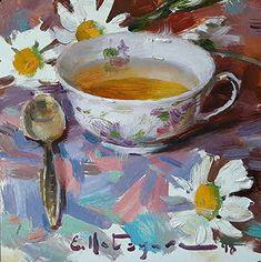 "Daily Paintworks - ""Summer Tea"" - Original Fine Art for Sale - © Elena Katsyura Tea Cup Art, Coffee Cup Art, Oil Painting For Sale, Paintings For Sale, Art Paintings, Cafe Art, Fine Art Auctions, Renaissance Art, Fine Art Gallery"