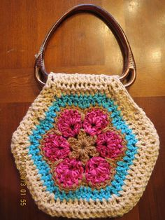 : Giant African Flower Crocheted Purse