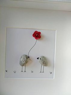 Pebble art picture Love birds Easter Mother's day