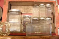 Antique Spotlight: Hoosier Cabinet Sneath Glass – Dusty Old Thing Glass Canisters, Glass Jars, Mason Jars, Kitchen Canisters, Kitchen Items, Kitchen Utensils, Kitchen Stuff, Kitchen Gadgets, Clear Glass
