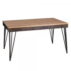 Mesa estilo industrial en color negro y natural, en madera de abeto y metal.
