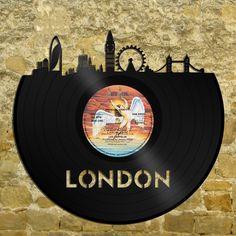 London Skyline -  London Skyline Art, London Vinyl Record Art, London Cityscape, UK Gift, London Print,  London Eye, London Gift by VinylShopUS on Etsy