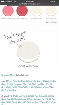 Trim colour Gray Basement, Basement Colors, Palladian Blue, Gossamer Blue, Benjamin Moore Paint, White Doves, Trim Color, Black And Navy, Color Pallets