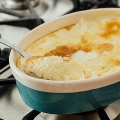 Baked rice pudding, cooked very slowly until it is very creamy inside with a nice golden crust and slightly crisp edges.