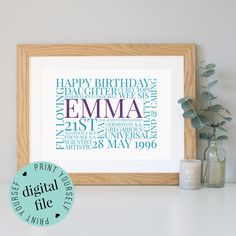 Personalised 21st BIRTHDAY GIFT - Word Art - 21st Birthday Gift for Her - 21st Birthday Gift for Him - Printable Gift - Bespoke Gifts - 21st by WordlyDesigns on Etsy