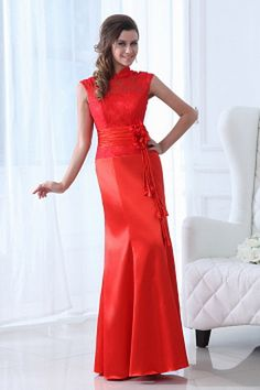 Trumpet/Mermaid High Neck Floor-Length Satin Lace Mother of the Bride Dress With Ruffle Flower(s) - JJsHouse Cheap Graduation Dresses, High Neck Bridesmaid Dresses, Classic Bridesmaids Dresses, Homecoming Dresses Long, Cheap Prom Dresses, Cheap Wedding Dress, Wedding Party Dresses, Bride Dresses, Red Bridesmaids