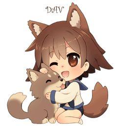 Chibi Yoshika and puppy by *DAV-19 on deviantART
