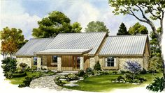 <!-- Generated by XStandard version 2.0.0.0 on 2011-12-12T15:35:57 --><ul><li>This Ranch home plan is designed with an attractive metal roof and the stone and siding exterior enhance its good looks.</li><li>The front porch is wide and deep and leads you into a huge open great room area complete with a fireplace and plenty of windows.</li><li>From the kitchen, you can enjoy views of the great room and the covered deck beyond.</li><li>Two identically-sized bedroom suites flank the great room…