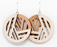 Large PacMan Earring Maple/ Cherry Wood by OrangeSlice on Etsy, $35.00