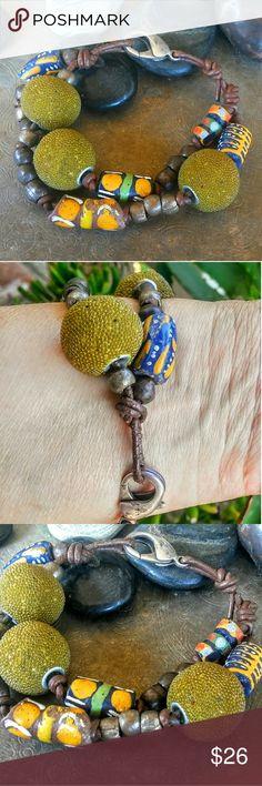 "Artist Bohemian Urban Trade Beads Leather Bracelet Jewlery Artist P. Carvalho Bohemian Urban Trade Beaded Tribal Leather Bracelet 8"" Large Silver Lobster Close Paula Carvalho Designs Jewelry Bracelets"