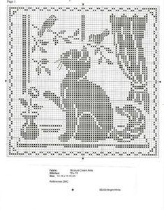 Filet Crochet Cat In the Window Pattern afghan doily Rabbit cross stitch - b & w Cat Cross Stitches, Cross Stitch Charts, Cross Stitch Designs, Cross Stitching, Cross Stitch Embroidery, Cross Stitch Patterns, Crochet Cat Pattern, Crochet Motif, Crochet Doilies