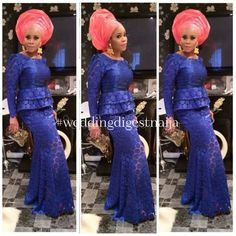 Nigerian wedding Aso ebi styles. Blue long sleeve lace top and skirt with pinky peach Gele.