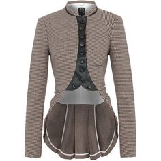 MCQ Alexander McQueen Tweed Tail Blazer (990 BRL) ❤ liked on Polyvore featuring outerwear, jackets, blazers, coats, alexander mcqueen, wool tweed blazer, mcq by alexander mcqueen, brown blazer jacket, brown tweed blazer and stand up collar jacket