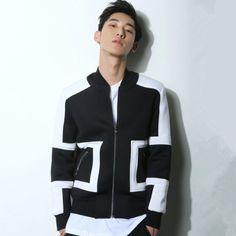 Simple geometric black bomber jacket men for autumn stand collar