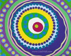 Dotilism Funky Mandala Original acrílico pintura 8 x por LisaFrick