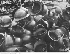 Helmets of Polish cavalry captured by the Germans. 1939.