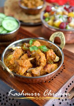 Kashmir Chicken, Kashmiri Murgh Masala is authentic spicy, sweet, rich chicken curry in kashmiri style perfect for party, celebration.  Chicken Curry Recipe