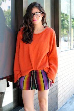Shop this look on Kaleidoscope (sweater, shorts, sunglasses)  http://kalei.do/WE4ucHDeK1Z0Rjoe