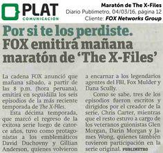 FOX Networks Group: Maratón de The X-Files en el diario Publimetro de Perú (04/03/16)
