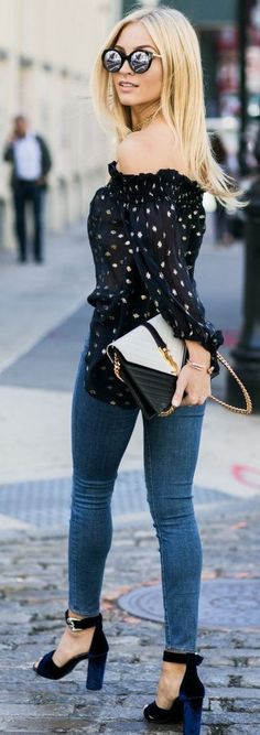 #trending #fall #outfits | Off The Shoulder Print Top + Denim