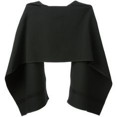 BEVZA asymmetric caped top (18,175 INR) ❤ liked on Polyvore featuring tops, crop, sweaters, cape, black top, black asymmetrical top, cutout top, asymmetric crop top and black cap sleeve top