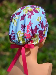 Womens Surgical Scrub Caps - Scrub Hats - The Mini- Cabbage Rose - The Hat Cottage